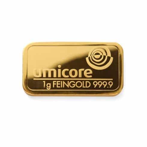 1 gram umicore gold bar