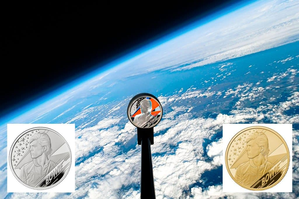 David Bowie coin blasted in to space